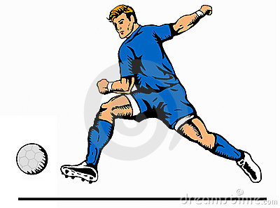 Striker kicking ball blue