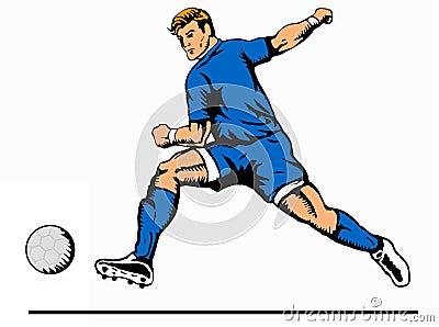 Striker kicking ball blue