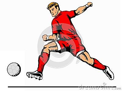 Striker kicking ball red