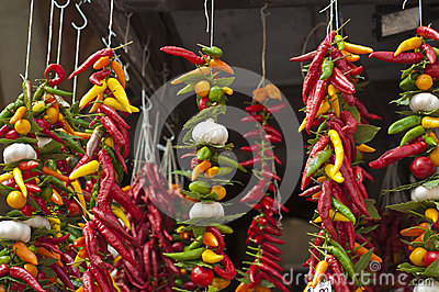 Strings of chillies and garlic