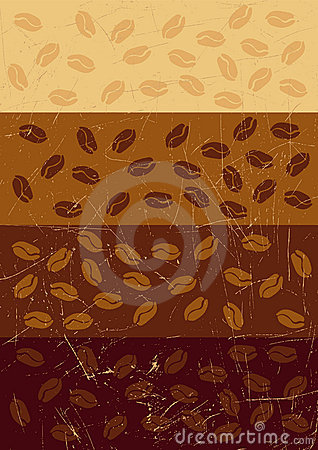 Stripe retro grunge background with coffee beans