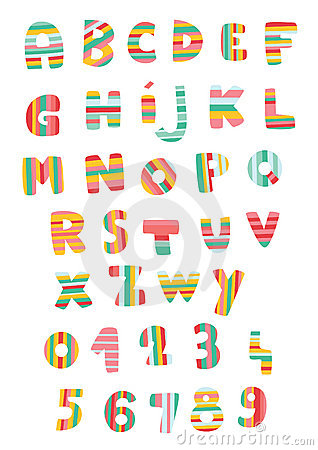 Striped Alphabet and Numbers
