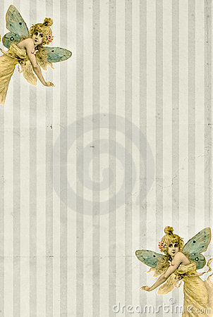 Striped background with fairy butterflies