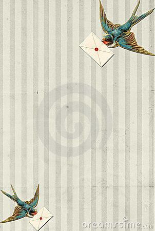 Striped background vintage blue bird with letter