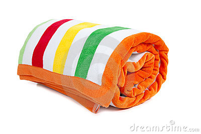 red, white, yellow, green and orange striped beach towel on a white ...