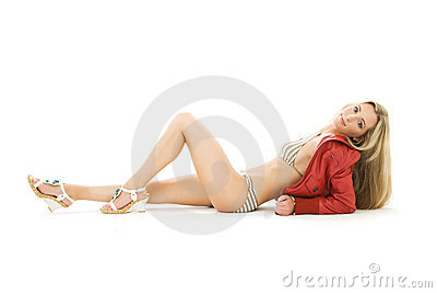 Striped bikini girl in red jacket and platform sho