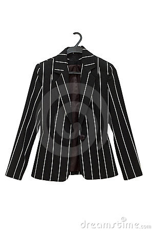 Striped black jacket isolated