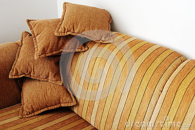 Striped brown sofa
