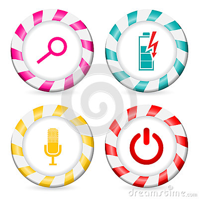 Striped button designs with various icons
