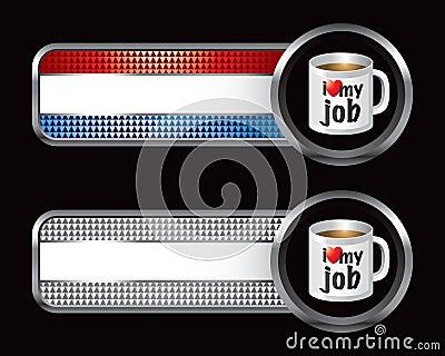 Striped checkered banners with coffee mug