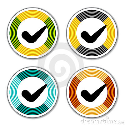 Striped checkmark stickers