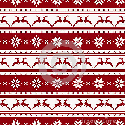 Free Striped Christmas Pattern With Deers. Vector Seamless Background Stock Image - 47243671