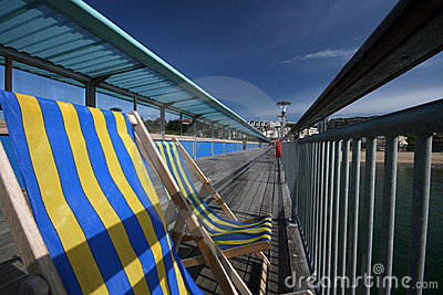 Striped Deckchair on seaside  Pier