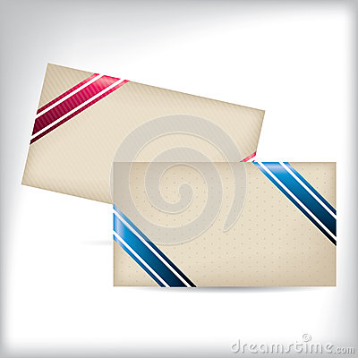 Striped and dotted business cards with ribbons