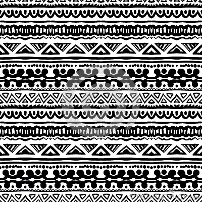 Black And White Tribal Print Background Striped Ethnic Pattern In Royalty Free Stock