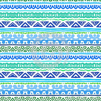 Free Striped Ethnic Pattern In Vibrant Blue And Green Royalty Free Stock Photo - 35528585