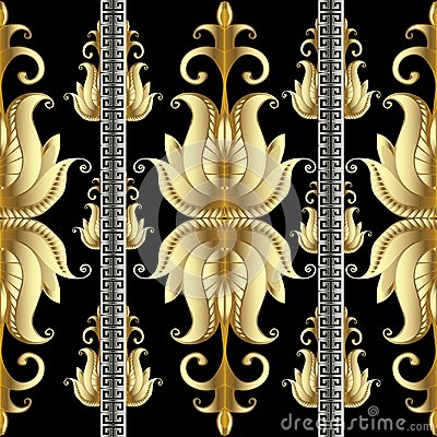 Free Striped Floral Gold Meander Seamless Pattern With Gold 3d Flowers Royalty Free Stock Images - 106804539