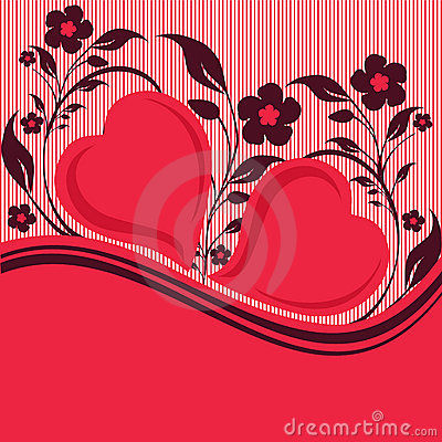 Striped floral ornament with two hearts