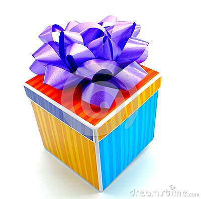 Colorful Striped Birthday Gift Isolated
