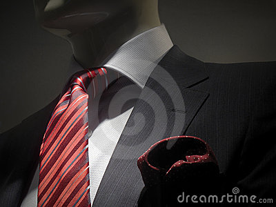 Striped grey jacket with red striped tie and handk