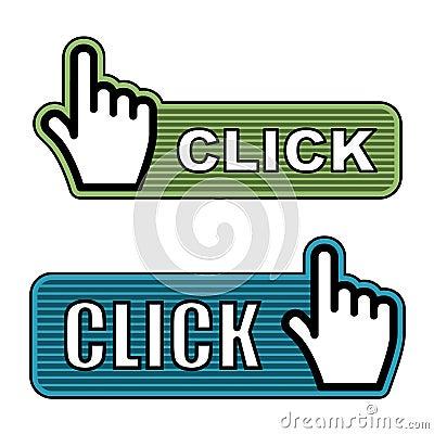Striped hand cursor labels