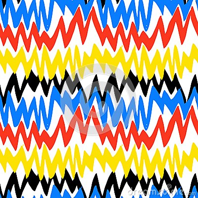 Free Striped Hand Drawn Pattern With Zigzag Lines Stock Photography - 47473232
