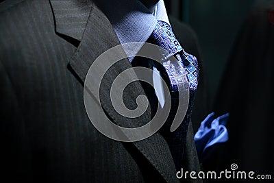 Striped jacket with blue shirt, tie & handkerchief