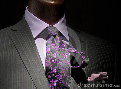 Striped jacket with purple shirt & tie