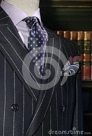 Striped Jacket with Purple Shirt, Tie (Vertical)