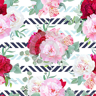 Free Striped Navy And Light Blue Floral Seamless Vector Print With Peony, Alstroemeria Lily, Mint Eucalyptus. Stock Photo - 82229830