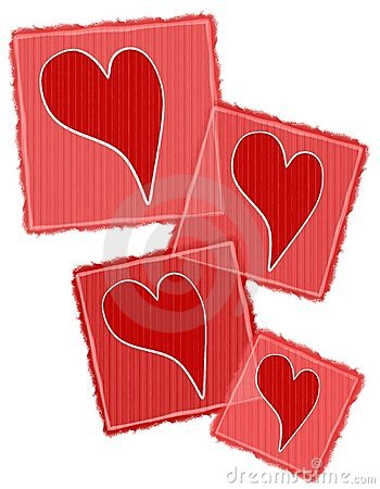 Striped Paper Valentine Hearts Collage