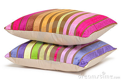 Striped pillows. Isolated