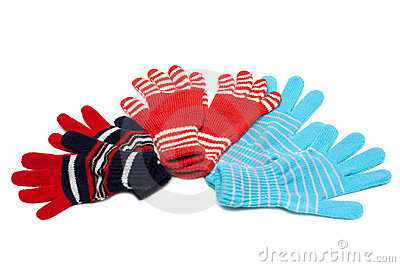 Striped red three pair of the gloves