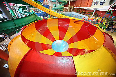 Striped round chute as spiral and pool Editorial Stock Photo