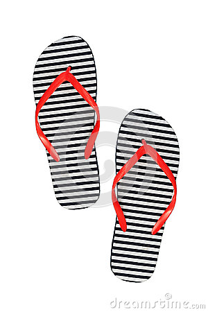 Free Striped Rubber Flip Flops, Isolated On A White Background Stock Photo - 98439470