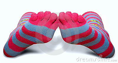 Striped socks with toes