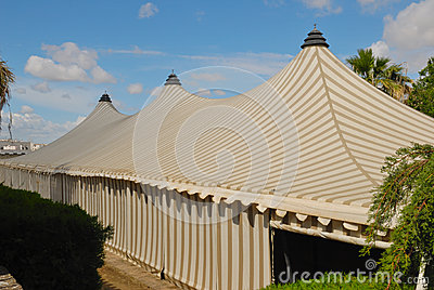 Striped tent