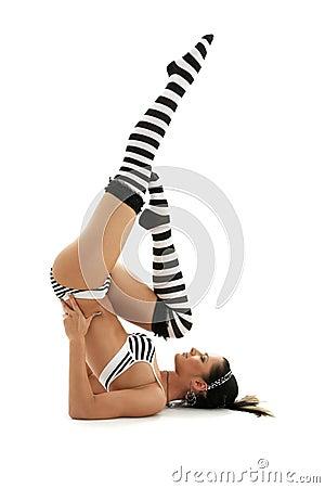 Striped underwear supported sh