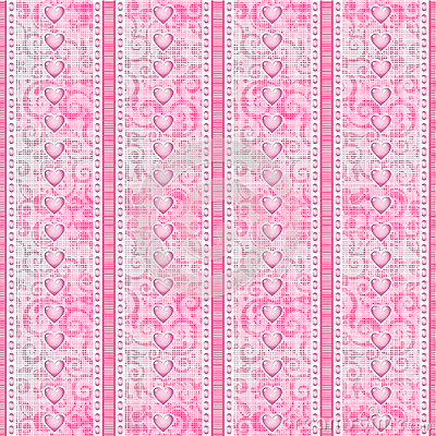 Stripes and laces pink silk tulle seamless pattern