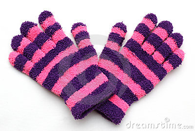 Stripey woollen gloves