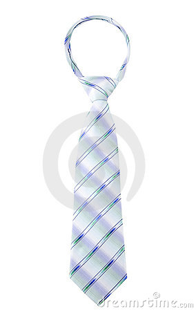 Stripped blue tie with tied Windsor knot