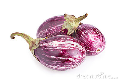 Stripped eggplants isolated on white