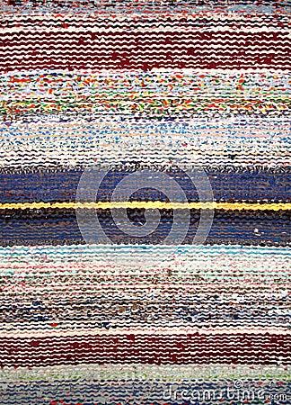 Stripped woven rag rug
