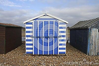 Stripy Blue and White Beach hut on Hayling Island