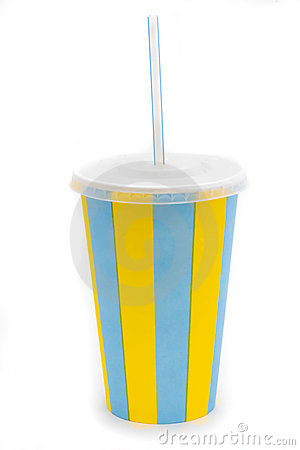 Stripy drinks cup with staw