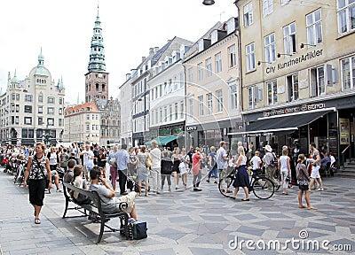 Stroget shopping street copenhagen denmark Editorial Stock Image