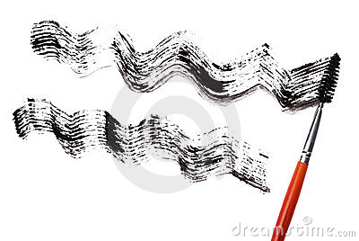Stroke of black mascara with applicator brush