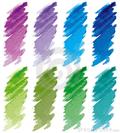 Free Strokes Set Blue, Green, Violet. Royalty Free Stock Images - 4307699