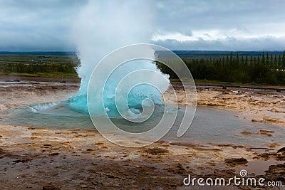 Strokkur hot spring eruption