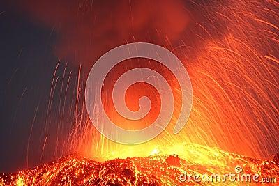 Strombolian eruption volcano Pacaya erupting